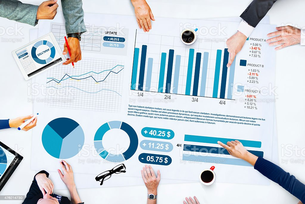 Business People Meeting Planning Analysis Statistics Brainstormi stock photo