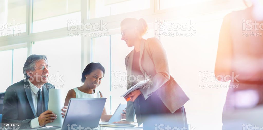 Business people, meeting, seminar, education, learning stock photo