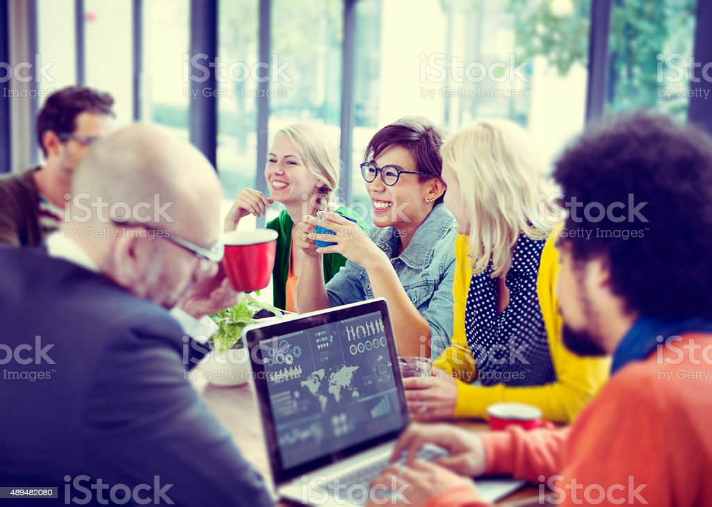 Business People Meeting Seminar Sharing Talking Thinking Concept stock photo