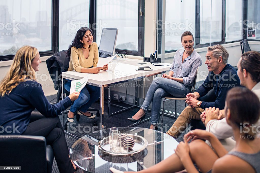 Business people on a meeting in the office stock photo