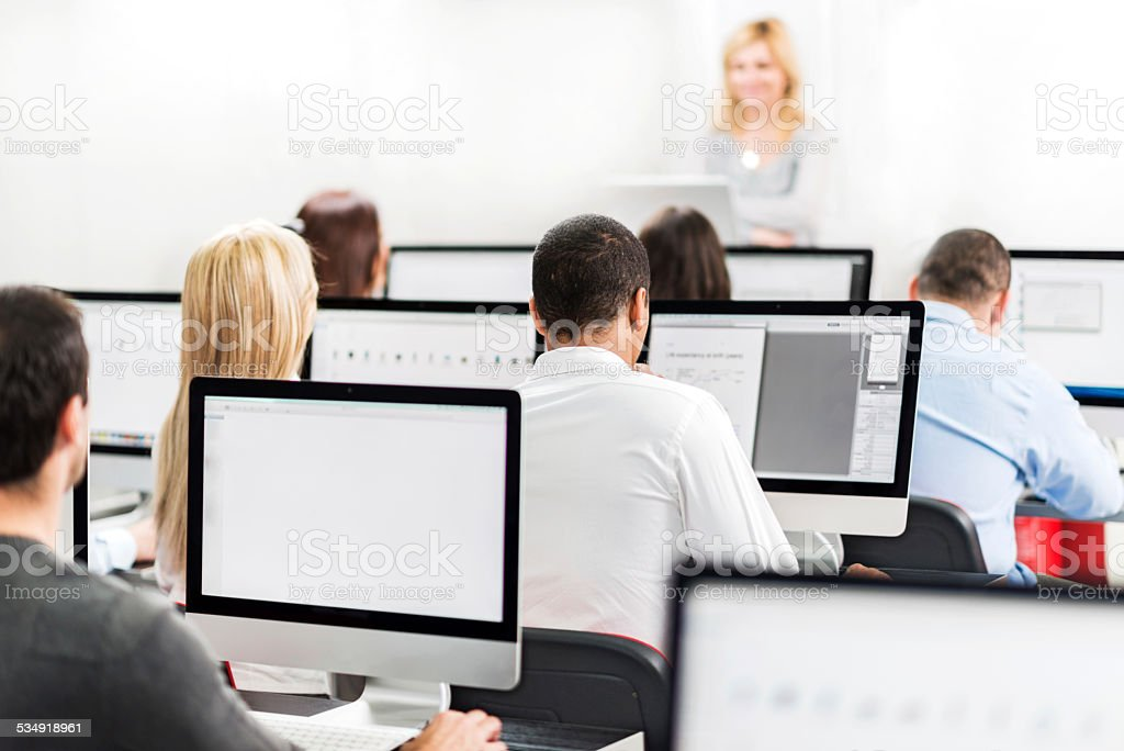 Business people on a seminar. stock photo