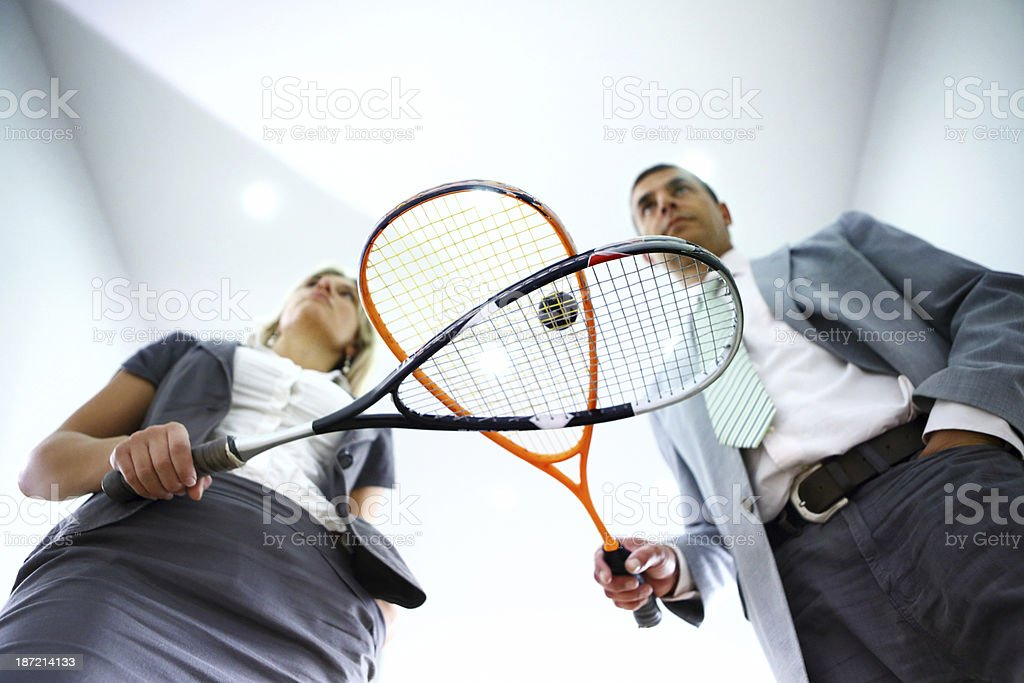 Business people on a squash break. royalty-free stock photo