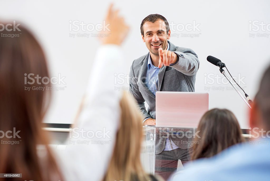 Business people on seminar. stock photo