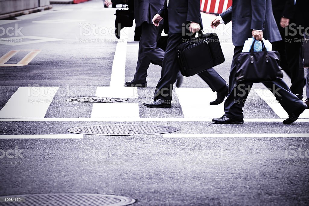 Business people on the move stock photo