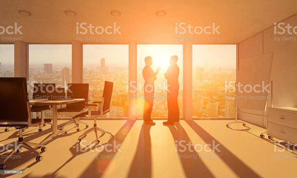 Business people planning, talking about opportunities stock photo