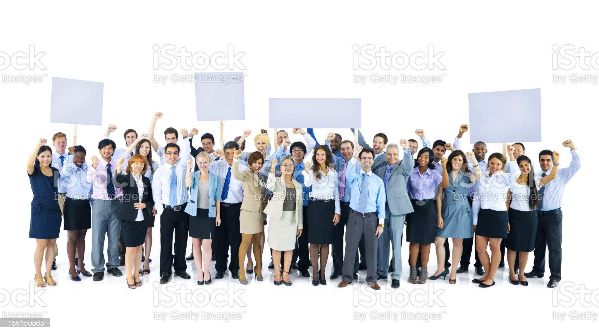Business people protest with blank placards. royalty-free stock photo
