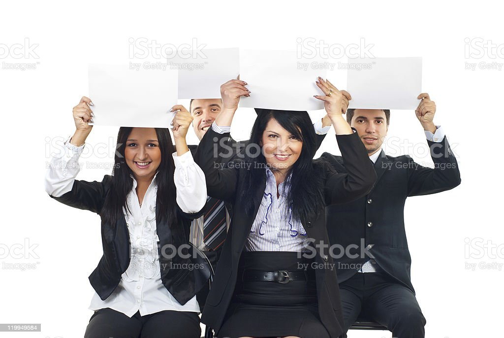 Business people raise blank papers royalty-free stock photo