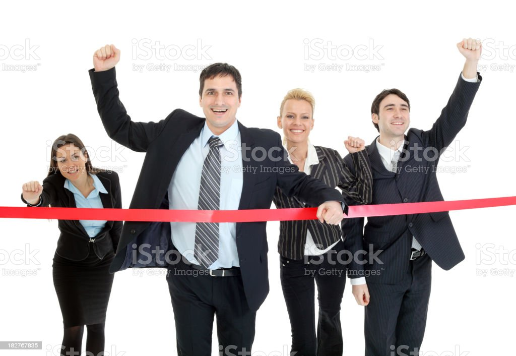 Business people running to finish, crossing red line stock photo