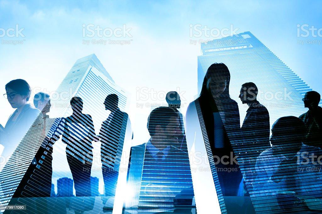 Business People Silhouette Transparent Building Concept stock photo