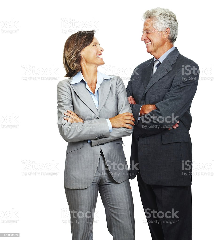 Business people smilingh against white background royalty-free stock photo