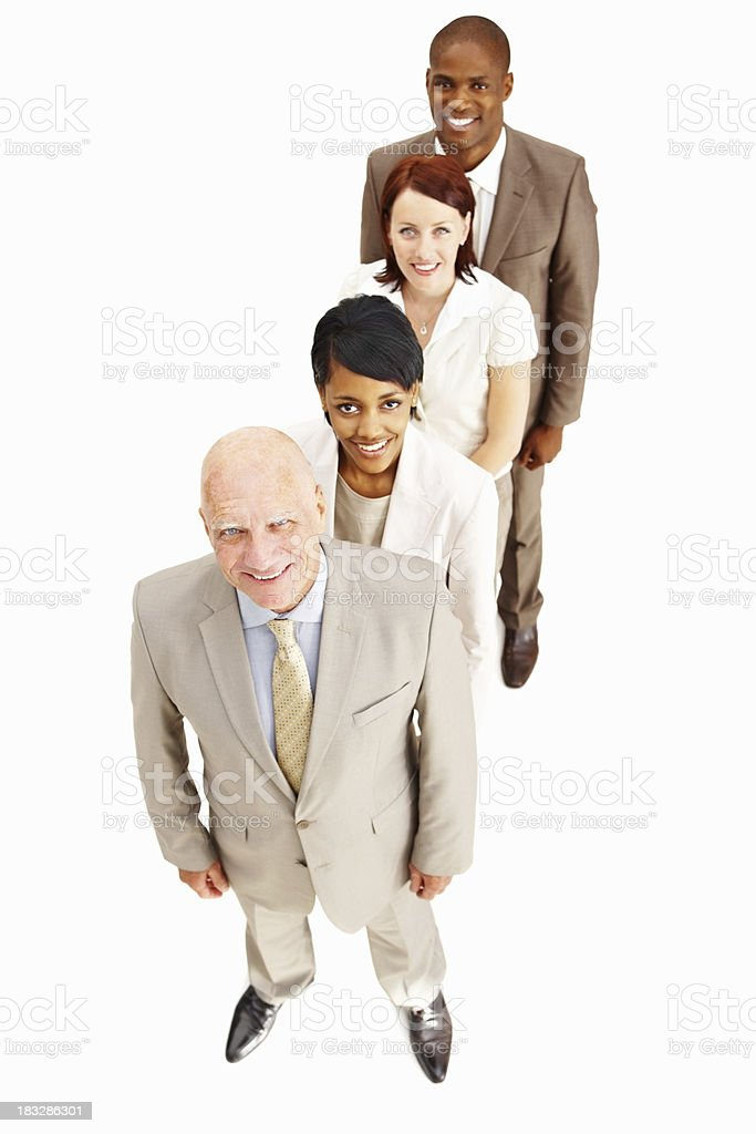 Business people standing in a line while looking at you royalty-free stock photo