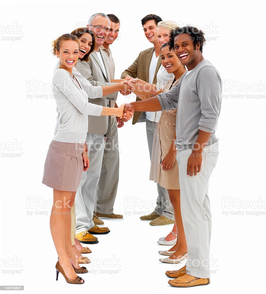 Business people standing in a row and shaking hands royalty-free stock photo