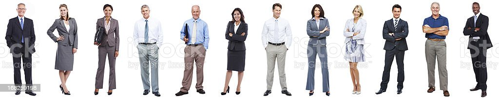 Business people standing in a row on white background stock photo