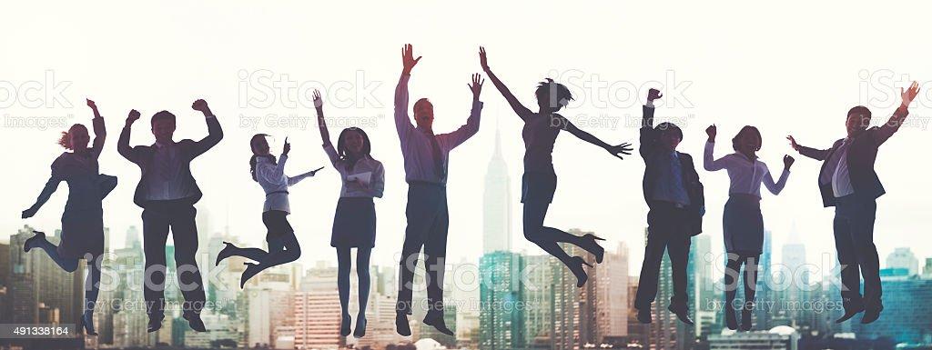 Business People Success Excitement Victory Achievement Concept stock photo