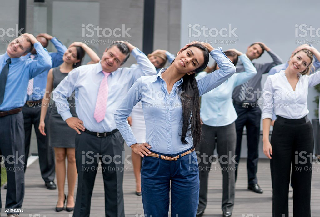 Business people taking an active break stock photo