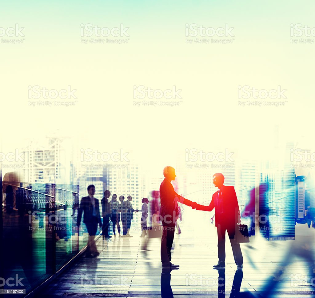 Business People Talking Connection Conversation Concept stock photo