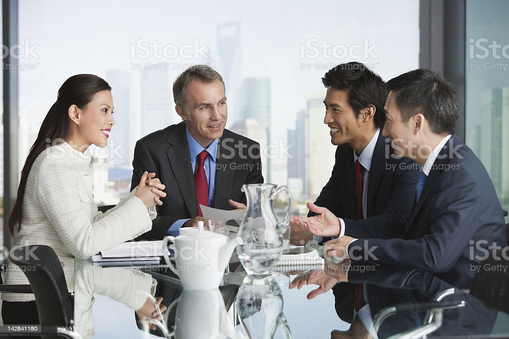 Business people talking in meeting royalty-free stock photo
