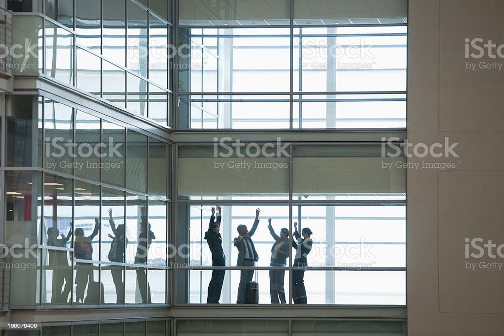 Business people talking in modern office corridor royalty-free stock photo