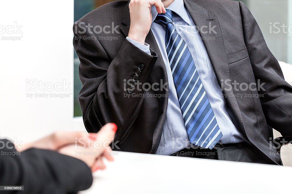 Business people talking on meeting at office, sitting stock photo