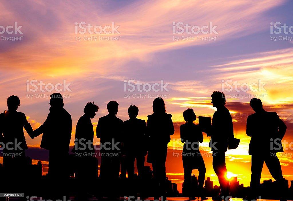 Business people Team Twilight Cityscape Concept stock photo