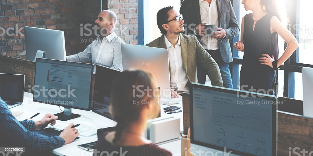 Business People Using Computer Working Concept stock photo