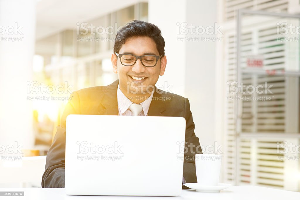 Business people using laptop pc at cafe stock photo