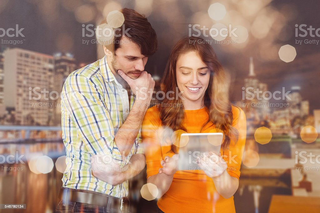 Business people using tablet in the office stock photo