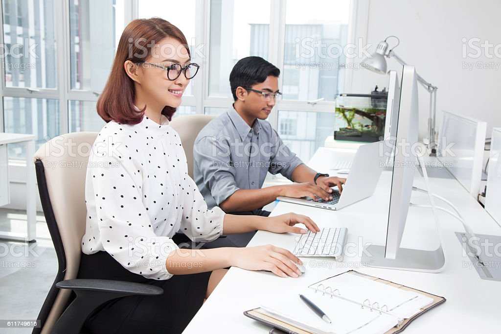 Business people using technology working together stock photo