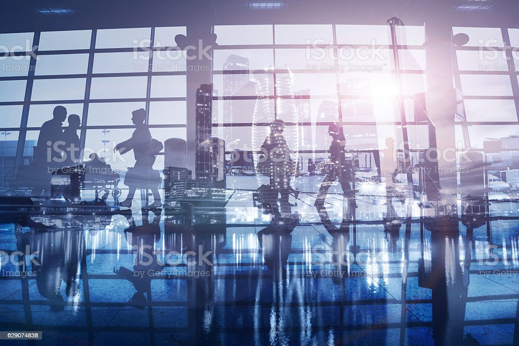 business people walking in the office, double exposure background stock photo