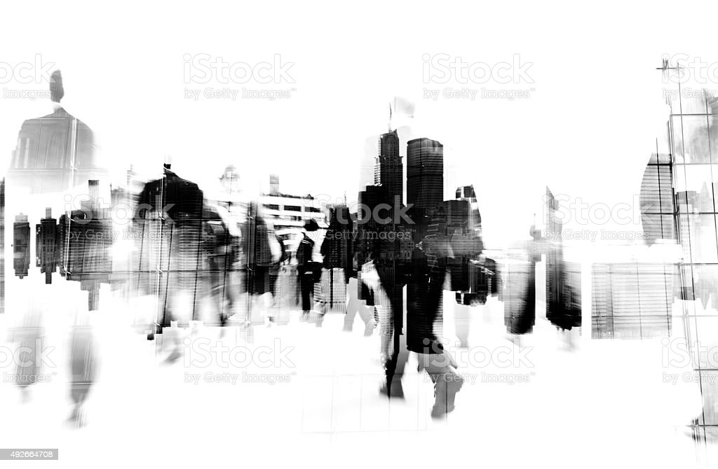 Business People Walking on a City Scape Concept stock photo
