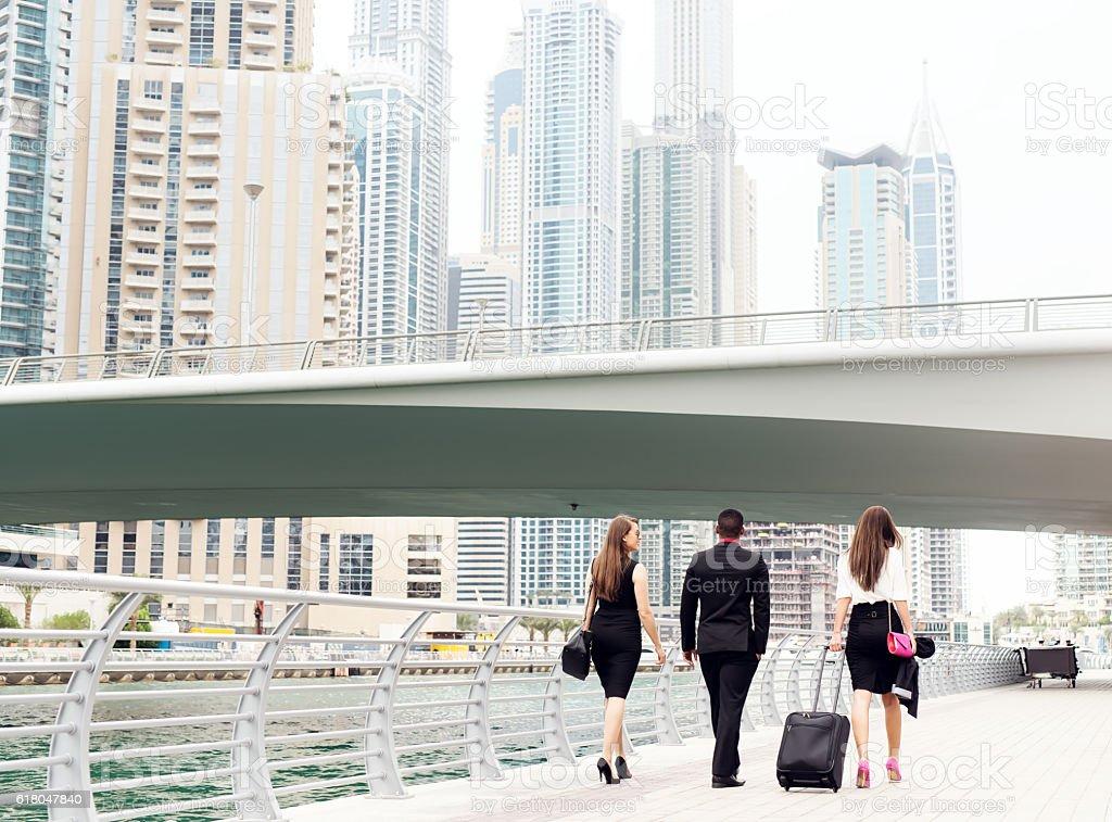 Business people walking. stock photo