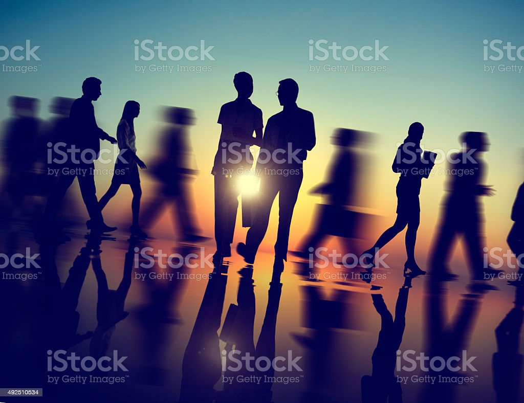 Business People Walking Silhouette Concept stock photo