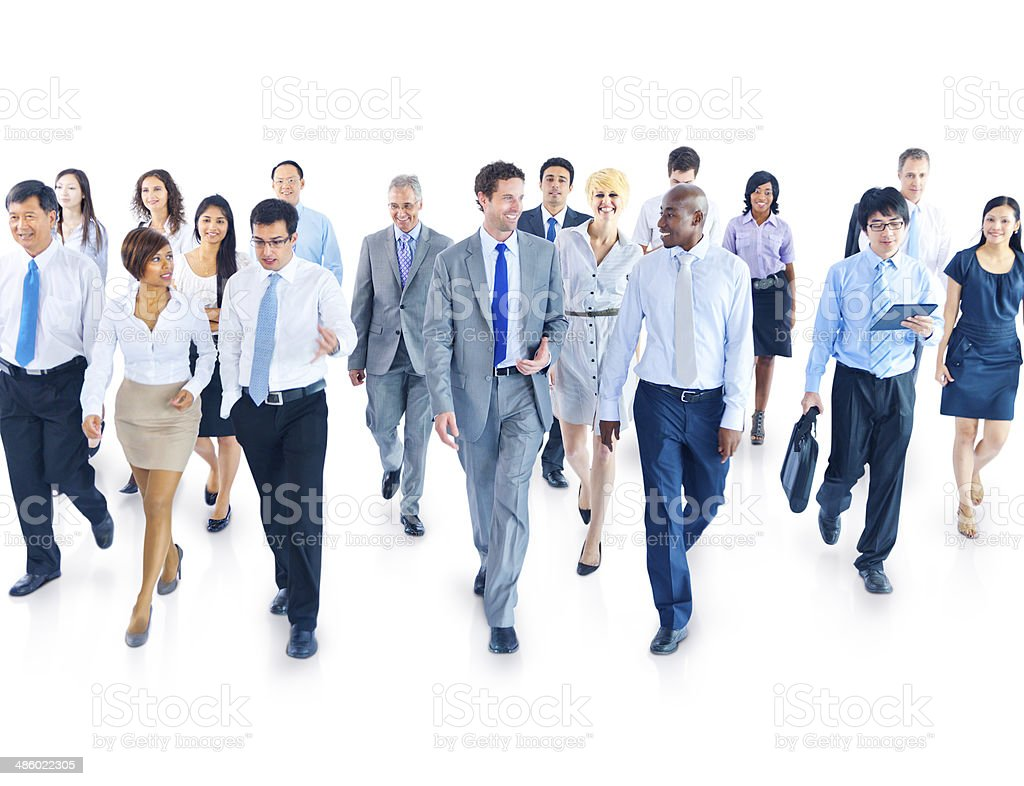 Business People Walking Toward Camera stock photo