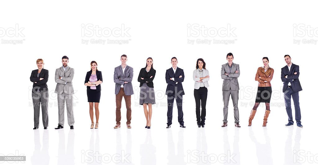 Business people with crossed arms isolated on white. stock photo