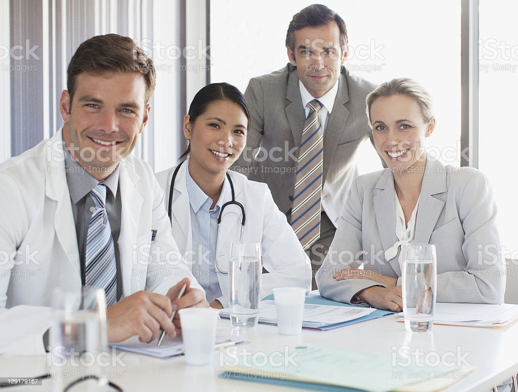 Business people with doctors royalty-free stock photo