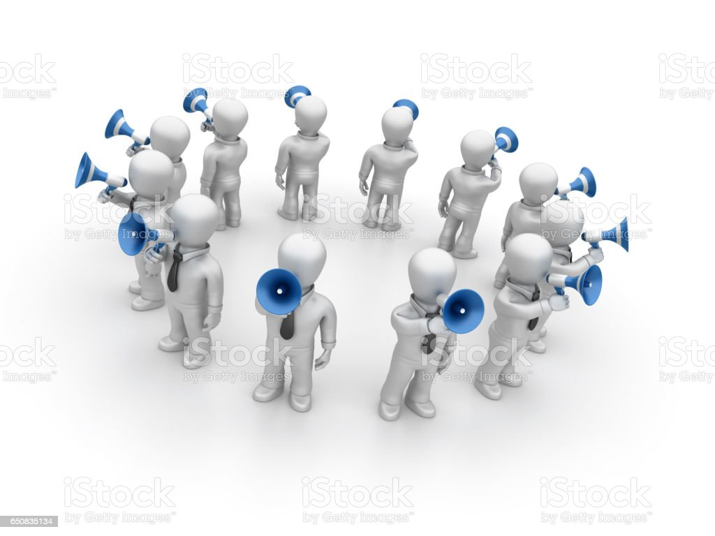 Business People with Megaphones - 3D Rendering stock photo
