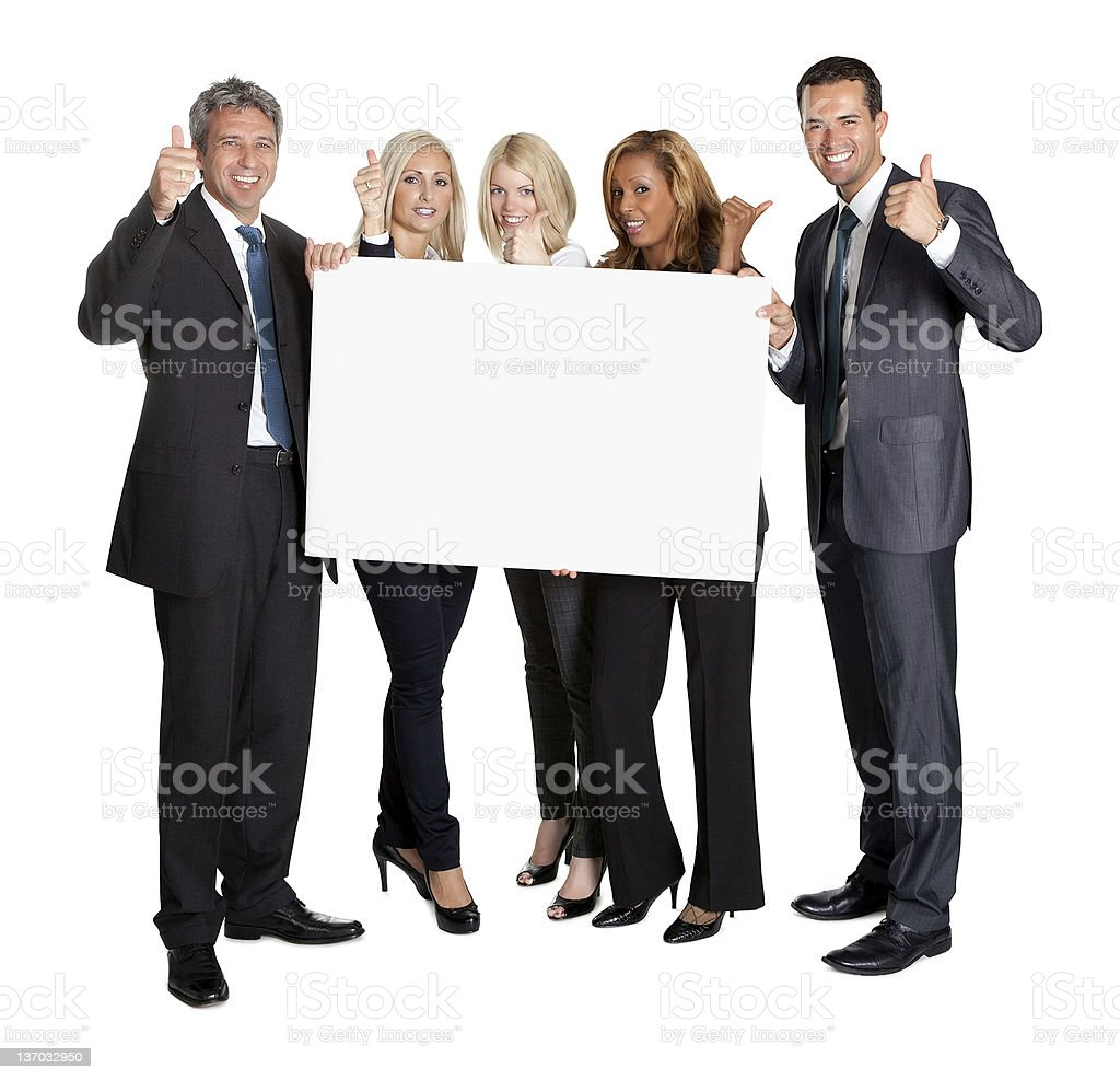 Business people with thumbs up holding blank board royalty-free stock photo