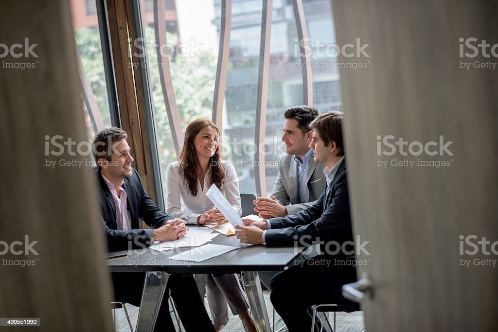 Business people working at the office stock photo