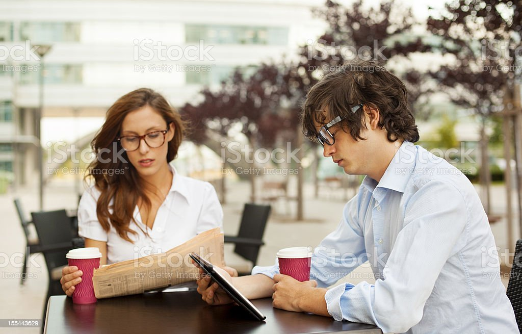 Business People Working Coffee Break Outdoors. royalty-free stock photo