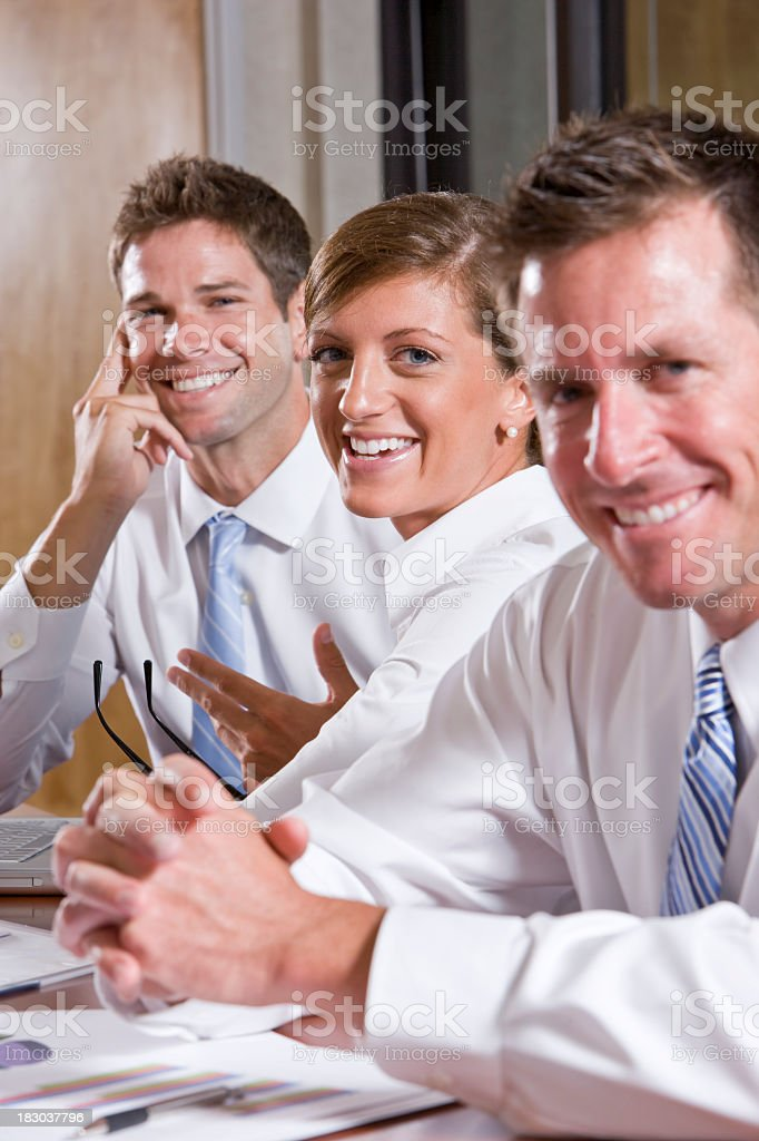 Business people working, focus on woman royalty-free stock photo