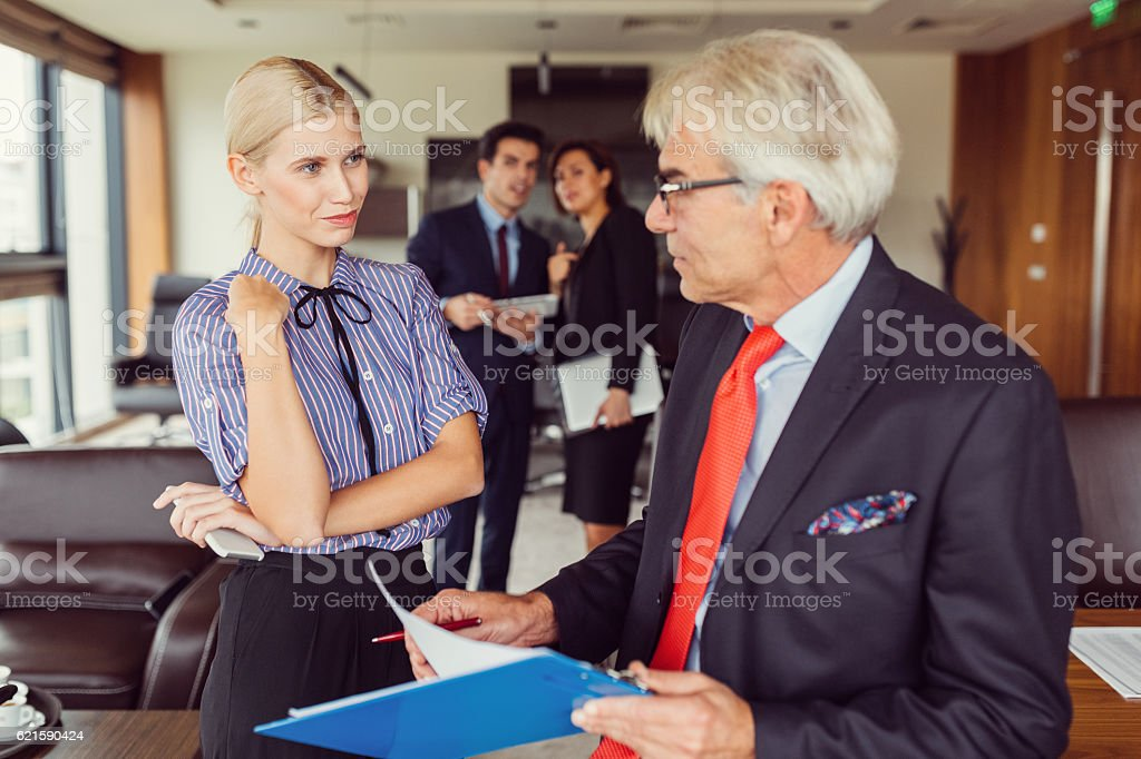 Business people working in the office stock photo