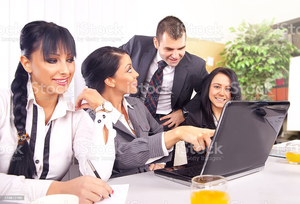 Business people working on a laptop royalty-free stock photo