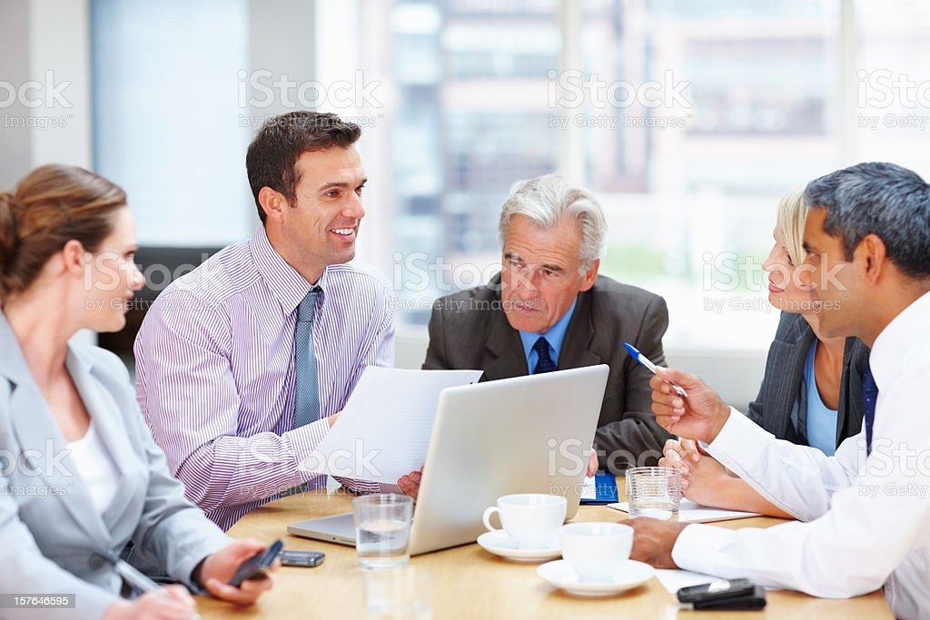 Business people working on new project in boardroom royalty-free stock photo