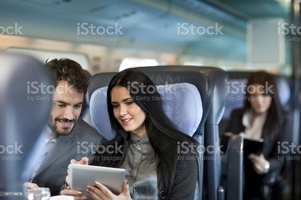 Business people working  on the Passenger  train stock photo