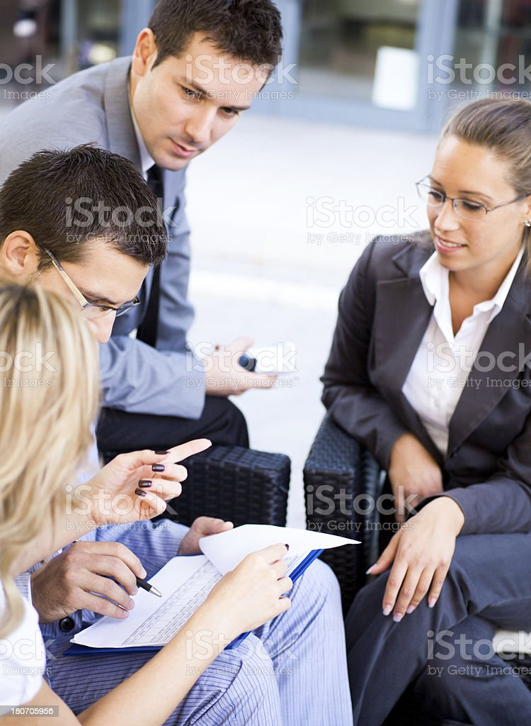 Business people working outdoor royalty-free stock photo