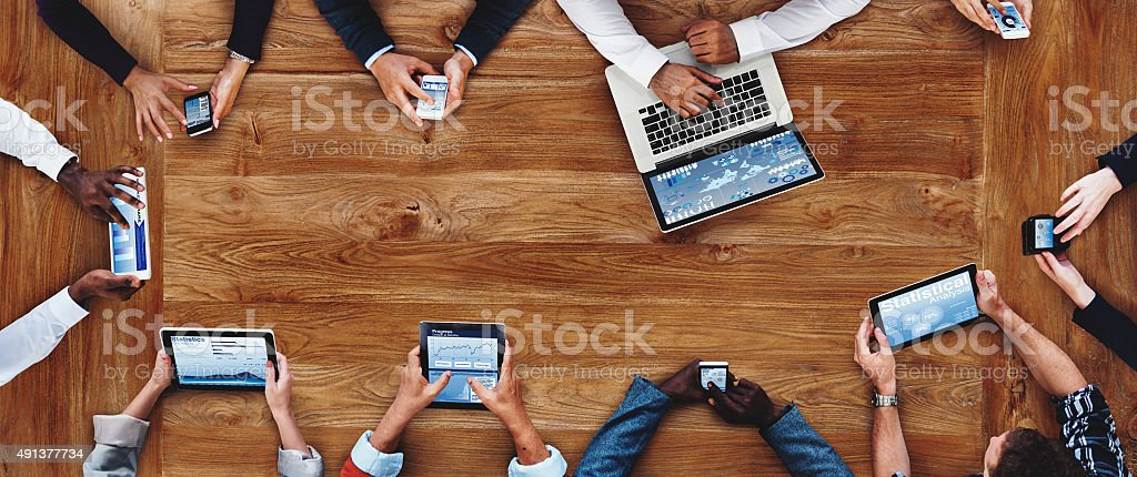 Business People Working Technology Devices Cocnept stock photo