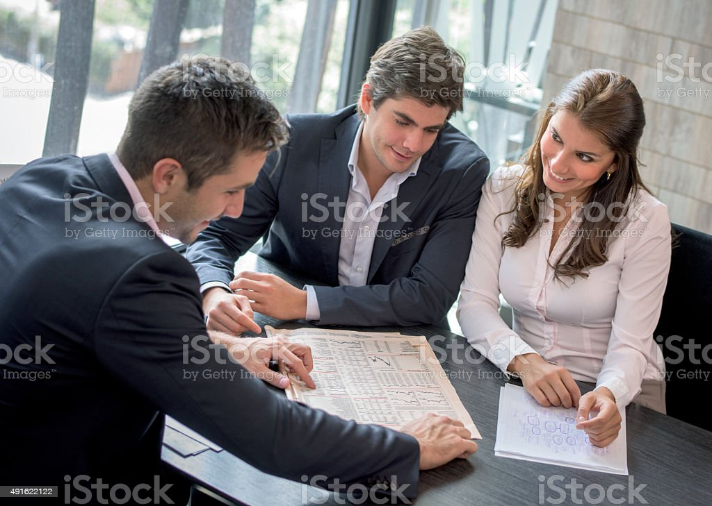 Business people working together at the office stock photo
