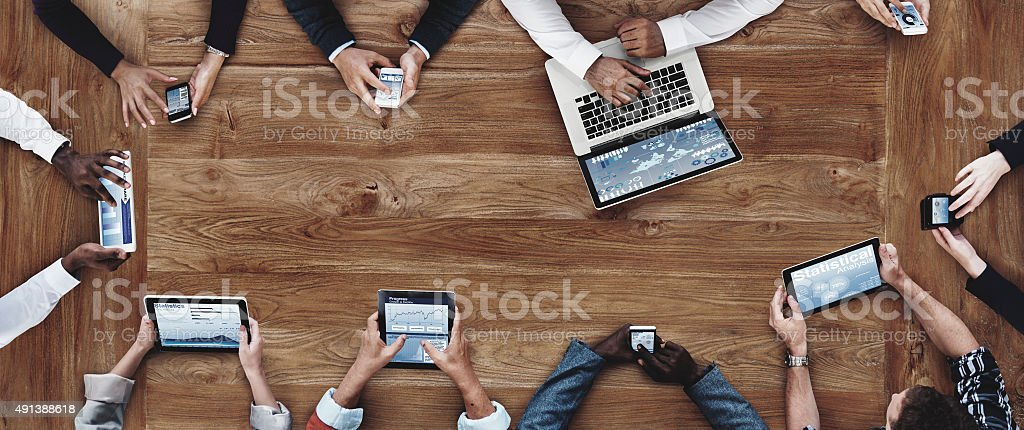 Business People Working with Technology Concept stock photo