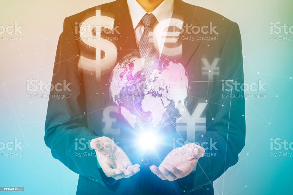 business person and financial technology (FinTech) conceptual abstract, key currency,  special drawing rights (SDR) stock photo