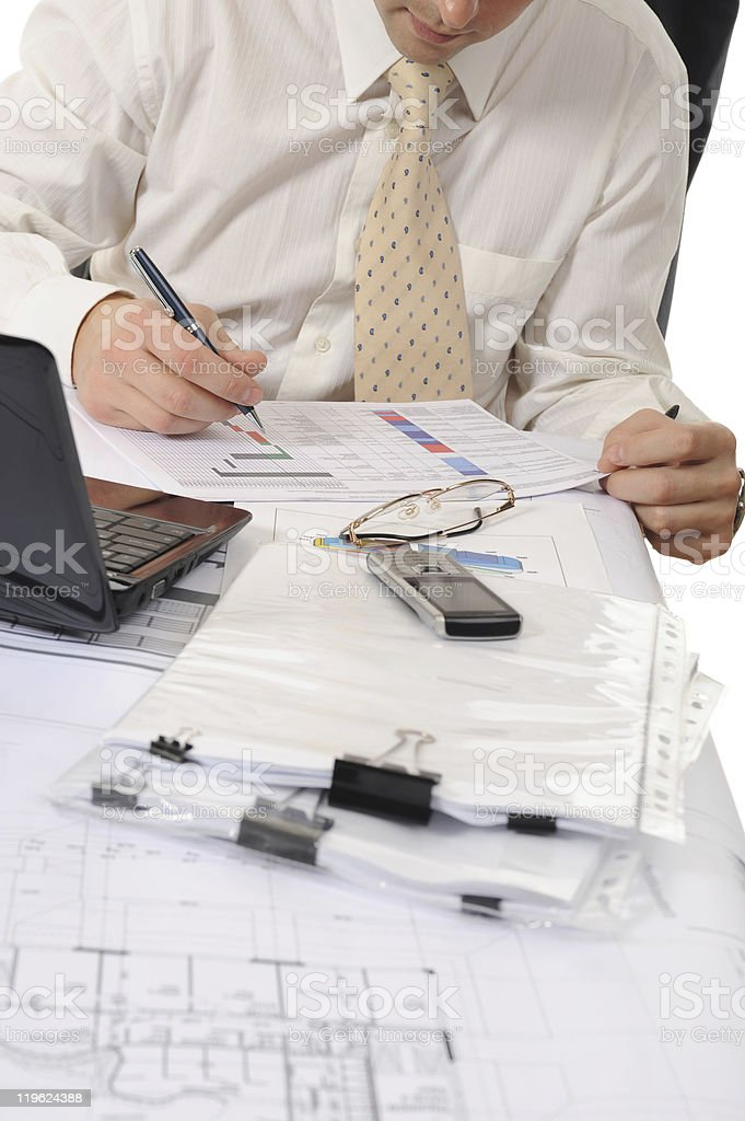 business person hands working with document stock photo